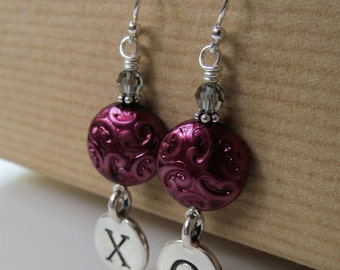 XOXO - Hugs and Kisses Love Purple Czech Glass Sterling Silver Earrings