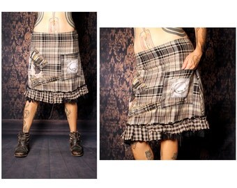 School Girl Plaid Skirt. tan grey black flannel skirt, studded Punk Rock Fashion. patchwork Gothic Lolita ruffle skirt, Cosplay a line skirt