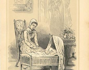 Vintage Religious Print Mother & Baby Antique Christian 1883 Steel Engraving Book Plate