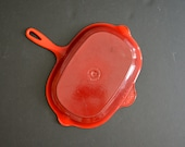 Le Creuset Grilling Pan -MADE IN FRANCE -Large Red Enamel Cast Iron Cookware Oblong Cast Iron Pan Rectangular Frying Pan