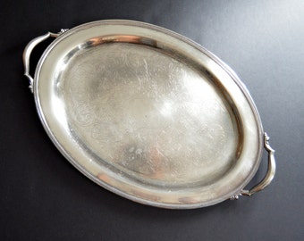 EXTRA LARGE Oneida Serving Tray {Silver Plated Oval Tray with Handles Serving Platter Silverplated Butler Tray Ornate Engraved}