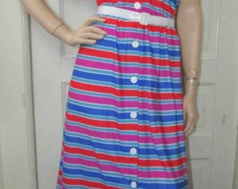 70s Jersey Stripe Dress Vintage 1970s Soft Hippie Garden Party Boho Midi Sun Summer 10 M