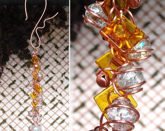 Wind Chimes Windchime Copper Garden Glass Ornament Dragonfly Butterfly Lawn Yard Art Sculpture Stained Glass Metal