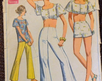 Vintage 1960's  Sewing Pattern Simplicity 8113 Misses' Blouse and Shorts Bust 36 inches