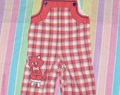 Vintage Red White and Blue Plaid Cat Baby Toddler Overalls