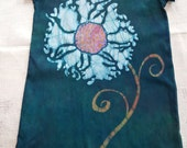 Girl's 10 white and teal poppy flower and butterflies batik dress.