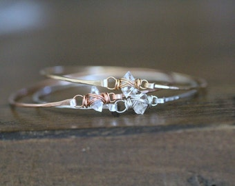 Herkimer Diamond Bracelet , Gold Silver or Rose Gold Caged Quartz Bangle , April Birthstone , Bohemian Stacking Thin Bangles