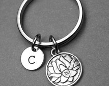 Lotus keychain, initial keychain, bridesmaids gifts, lotus flower keyring, blooming flower, yoga, best friend gift, personalized keychain