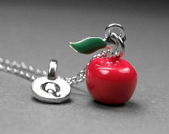 Apple necklace, Red apple necklace, red apple charm, apple jewelry, fruit jewelry, personalized charm, personalized jewelry, initial charm