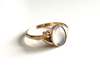 Vintage Antique Moonstone 9K Gold Ring