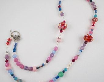 Floral pastel pink multicolor handmade lampwork necklace