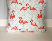 Pink Flamingo Pillow Cover, Coral Flamingo Pillow, Chevron Pillow Cover/Geometric/Summer Pillows/Sunroom Pillows/Floridian Pillow Covers