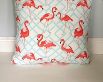 Pink Flamingo Pillow Cover, Coral Flamingo Pillow, Chevron Pillow Cover/Geometric/Summer Pillows/Sunroom Pillows/Floridian Pillow Covers