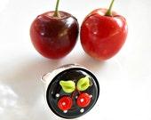 Cherry Ring - Rockabilly Cherry Ring - Cherry Lampwork Glass Ring - Statement Ring - Cherries - Cherry Jewelry - Rockabilly Jewelry