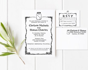Mason Jar Save the date rubber stamp with invitation and RSVP stamps