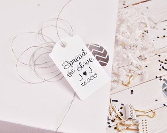 """Spread the love custom rubber stamp great for DIY wedding favors 1.5"""" inches --5716"""