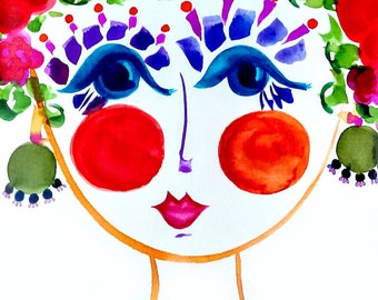 Meet Peony! - Portrait of  Flower Girl - Carmen Miranda Inspired Face - Print from Original Watercolor Painting by Suzanne MacCrone Rogers