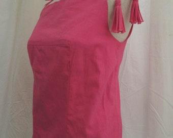 Pink Linen 50s blouse vintage 50s Pink Sleeveless top sassy tassels skinny straps Helen West blouse S M