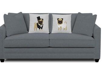 Wedding Pugs Pillows - Pug Pillows - Set of 2 Pug Pillows - wedding gift - pug decor - bride and groom pugs