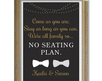 Seating Chart Wedding Printable, Gold Wedding Decor, Seating Chart sign, Black & Gold Party Decor, chalkboard Wedding Sign, Come as you are