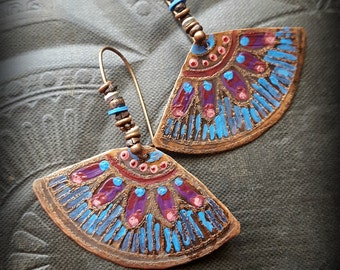 Copper Fans, Flower, Hand Painted, Copper Stampings, Flower Earring, Frida Kahlo, Colorful, Beaded Earrings