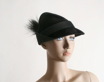 Vintage 1950s Hat - Black Peter Pan Shadow I. Magnin Feather Hat