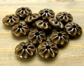 12mm Pinwheel Beads - 6 pcs - Solid Brass Pinched Beads - Hand Antiqued Brass - Patina Queen