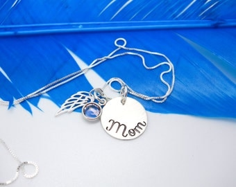 Personalized memorial necklace, mothers memorial necklace, sterling silver memorial jewelry, sterling wing necklace, custom jewelry