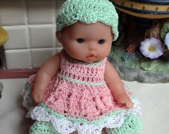 Crochet outfit Berenguer 5 inch Lots to Love baby doll Dress Set Pink Mint Green white