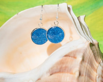 Glitteratti Collection:  16mm dangle earrings - Royal Blue