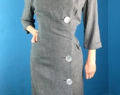 "Vintage 40s XXL/XL Gray Day Cocktail Dress ""Town 'n Travel"" Hourglass BEAUTIFUL!"