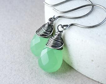 Green  Chalcedony  Earrings Oxidized Silver  Handmade Gemstone Jewelry Sterling   Clover Green   Wire Wrapped Gem Stone