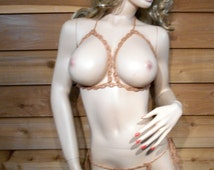 Extreme bikini strings Open cup bra and crotchless thong set One size Go commando