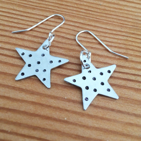 Aluminium Star Earrings with Spots - Cute - Spotty - Drop - Festival - Gypsy -