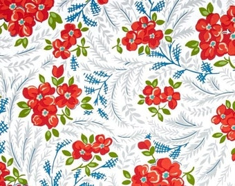 Hazel-Vintage Style Floral 1940's-White- Coral Repro-Allison Harris -Cluck Cluck Sew-Windham Fabric -Cotton Fabric-Quilting- Sewing
