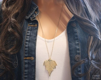 Gold Birch Leaf Necklace, Real Birch Gold Leaf, Real Birch Leaf Necklace, Birch, Gold Filled, LC102