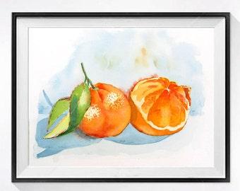 Kitchen Orange print, Citrus Watercolor Print, Tangerine, Fine art, Kitchen wall decor, Still life Fruit painting, Botanical art, N