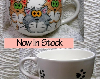 Goofy Cats Jumbo Soup or Latte Mug In Stock & Ready To Ship Handmade Earthenware Ceramic by GMS