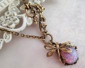 Fire Opal dragonfly necklace, Art Nouveau asymmetrical necklace, dragonfly jewelry, filigree jewelry statement necklace bug pendant necklace