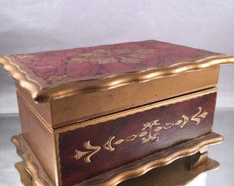 Vintage  Japan Gold and Copper Painted Wood Jewelry Box