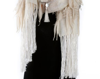 RUSTIC - handwoven shawl scarf wrap - in creamy white - (I09/027)- Ready to ship