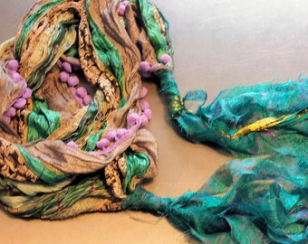 Gypsy Fringe Sari Scarf Shawl Taupe and Teal