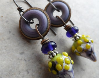 Johnny Jump Ups ... Artisan-Made Lampwork and Sterling Silver Wire-Wrapped Rustic, Boho, Floral Earrings