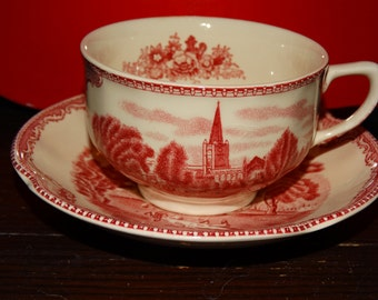Vintage Footed Cup & Saucer Set in Old Britain Castles-Pink Made England by Johnson Brothers, Old Britain Castles-Pink