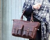 Leather Pocket Handbag, Shoulder Bag, Leather Pocket Purse, Brown