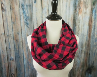Red & Black Buffalo Check Scarf -Red Buffalo Plaid Scarf- Red Plaid Flannel Scarf - Red Plaid Infinity Scarf - Circle Scarf