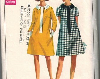 1960s Butterick 4708 Gorgeous Mod Dress Sewing Pattern Vintage Size 12 Cute Collar