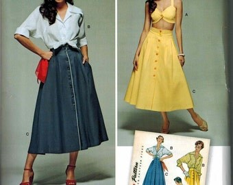 Simplicity 1166 Retro Dress Pattern 1950s Vintage Sizes 6-8-10-12-14 Reissue Full Skirt Rockabilly