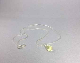 Citrine Drop on Sterling Silver