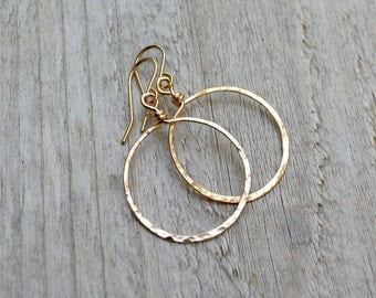 14KT Gold Fill Hoop Dangle Earrings Yellow Gold Hammered Hoop Modern Jewelry